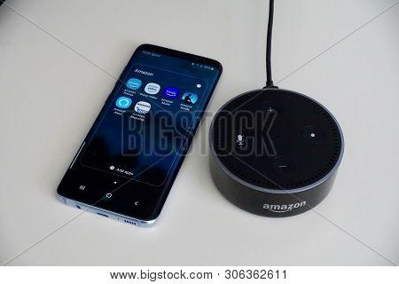 Orlando, Fl/usa-6/13/19: An Amazon Alexa Echo Dot, Known As Alexa, Is A Virtual Assistant Developed