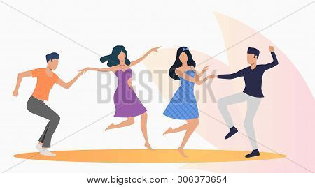 Happy People Dancing Salsa. Leisure, Fun, Nightlife Concept. Vector Illustration Can Be Used For Top