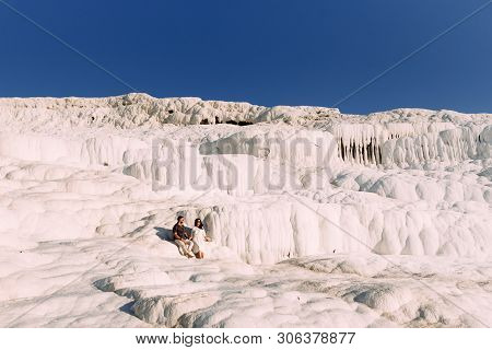 Couple In Love In Turkey, Pamukkale. Stylish Couple In Love. Newly Married Couple. Happy Couple On G