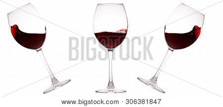 Set Of Glasses With Red Wine. Glass Of Wine, Wine Glass Isolated