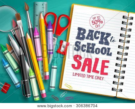 Back To School Sale Vector Banner Design With School Supplies, Education Elements And Back To School
