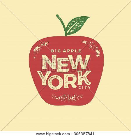 New York Big Apple Red Print Vector Illustration