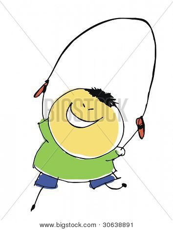 boy child skips over rope - cartoon people vector illustration set