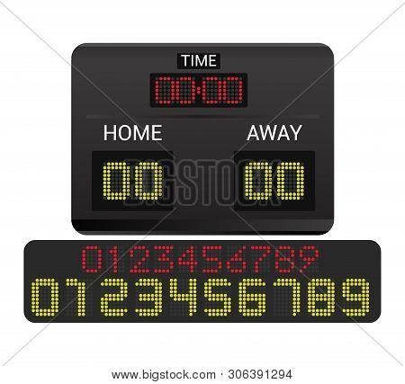 Scoreboard Vector Score Board Digital Display Football Soccer Sport Team Match Competition On Stadiu