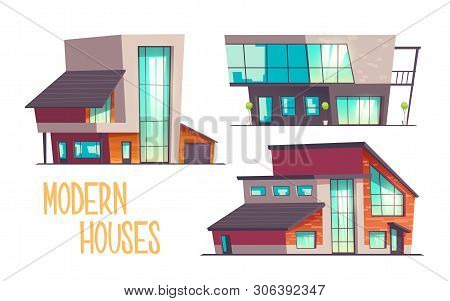 Modern Houses Cartoon Vector Set Isolated On White Background. Contemporary Architecture Cottage Hou