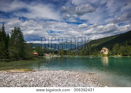 Dobbiaco, Italy - July 16, 2018: Panoramic View Of Toblacher See (dobbiaco Lake) In South Tyrol In T