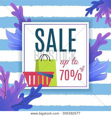 Big Sales Proposition. Summer Advertisement. Seasonal Price Fall. Discount Up To 70 Percent. Vector