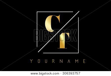 Ct Golden Letter Logo With Cutted And Intersected Design And Square Frame Vector Illustration
