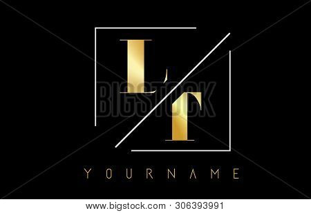 Lt Golden Letter Logo With Cutted And Intersected Design And Square Frame Vector Illustration