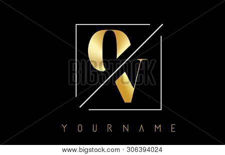 Ov Golden Letter Logo With Cutted And Intersected Design And Square Frame Vector Illustration