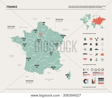 Vector Map Of France. Country Map With Division, Cities And Capital Paris. Political Map,  World Map