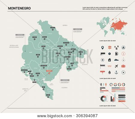 Vector Map Of Montenegro. Country Map With Division, Cities And Capital Podgorica. Political Map,  W