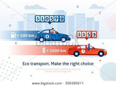 Eco Transport. Make Right Choice. Electric Engine Car Petrol Motor Auto Comparison Vector Illustrati