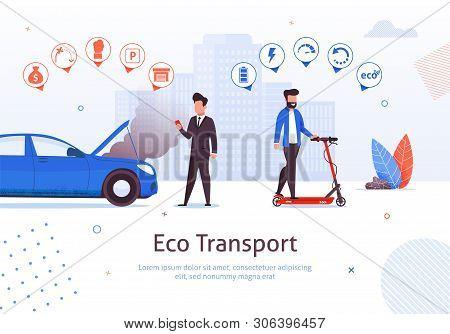 Eco Transport. Man Ride Electric Scooter Vector Illustration. Petrol Engine Car Disadvantages. Air P