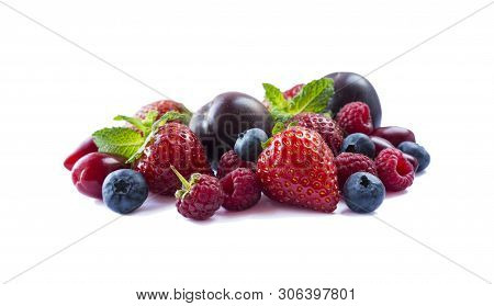 Fruits And Berries Isolated On White Background. Ripe Strawberries, Blueberries, Raspberries, Red Be
