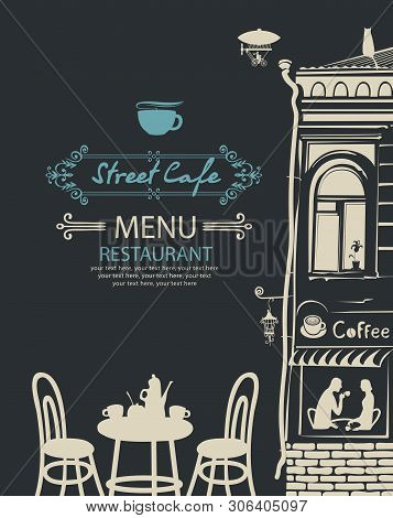 Vector Menu For Street Cafe Or Restaurant With Table For Two In An Old European Town At Night With P