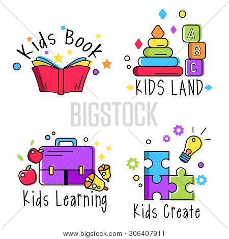Colorful Promo Sign, Creative Idea For Children Playing Space. Vector Watercolor Icon, Symbol, Child