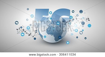 5g Network Label In Front Of Earth Globe - High Speed, Broadband Mobile Telecommunication And Wirele