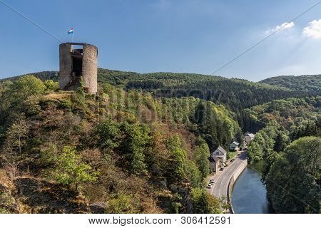 Village Esch-sur-sure In Luxembourg, Aerial View Form Castle At Hill Above The Houses