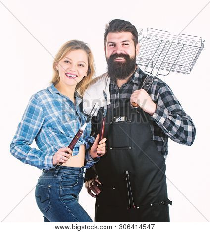 How Do You Like Your Steak Burnt. Couple Of Man And Woman Holding Barbeque Set. Barbeque Is A Cookin