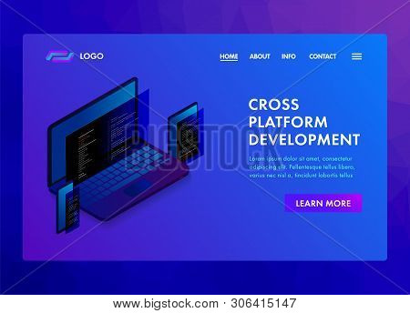 Multi Platform Software Development And Coding Programming Website Template, Landing Page Or Banner