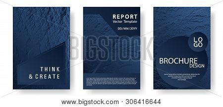 Annual Report Covers Design Set. Dark Blue And Black Waves Texture. Vector Templates For Corporate A
