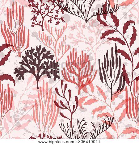 Coral Reef Seamless Pattern. Kelp Laminaria Seaweed Algae Background. Undersea Reef Flora Pattern. T