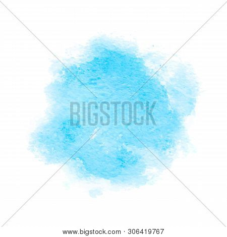 Colorful Abstract Background. Soft Blue Watercolor Stain. Watercolor Painting. Blue Watercolor Splas