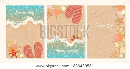 Vector Set Of Bright Summer Cards. Beautiful Summer Posters With Sea Stars, Shells, Slippers And Sea