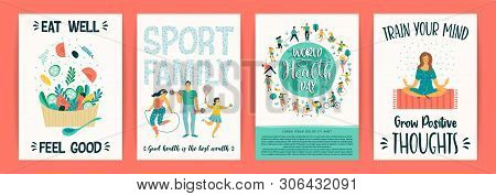 Vector Templates With People Leading An Active Healthy Lifestyle.