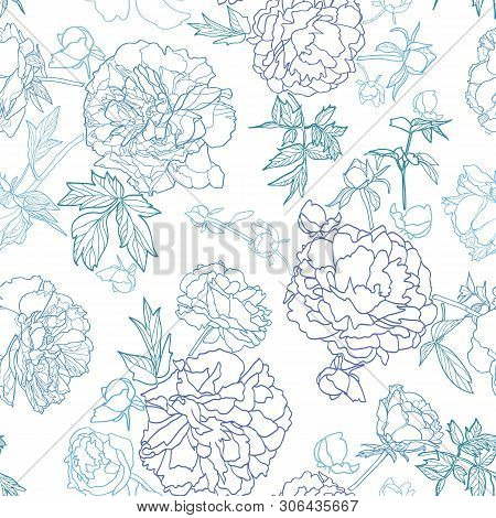 White Vector Repeat Pattern With Blue Outline Peony Florals. Japan Inspired Pattern. Perfect For Pap