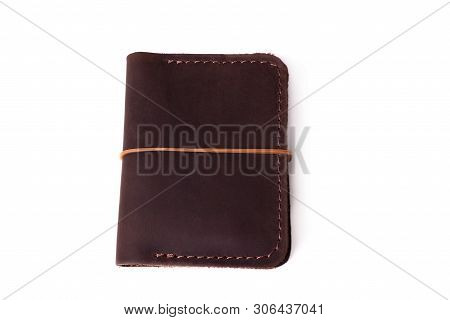 Handmade Brown Leather Cardholder With Rubber Band Isolated On White Background Closeup. Stock Photo