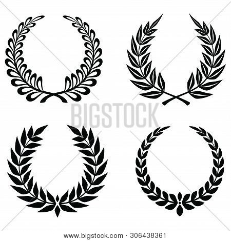 Set Of Wheats Ears Icons And Grain Design Elements For Beer, Organic Wheats Local Farm Fresh Food, B