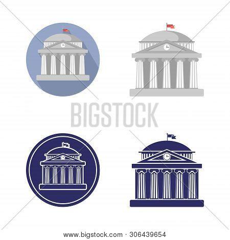 Set Of University Building Sign, Bank, Museum,  Library, Parliament. Classical Greece Roman Architec
