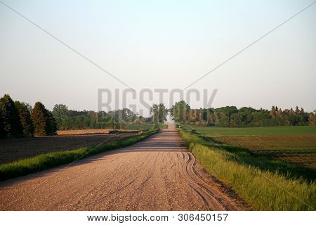 A Rural Graveled Country Road North Of Jamestown Nd. It Was  Taken In The Evening. (rush Hour In Nor