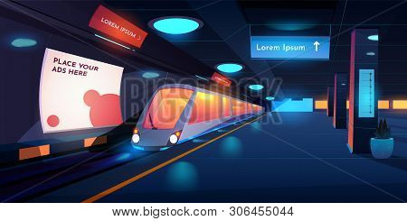Train In Metro Station At Night Time, Empty Subway Platform With Glowing Lamps, Map And Ads Banners,