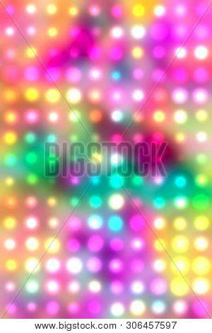 Abstract Multicolored Kaleidoscope Glowing Defocused Confetti Pattern. Comic Background. Digitally G