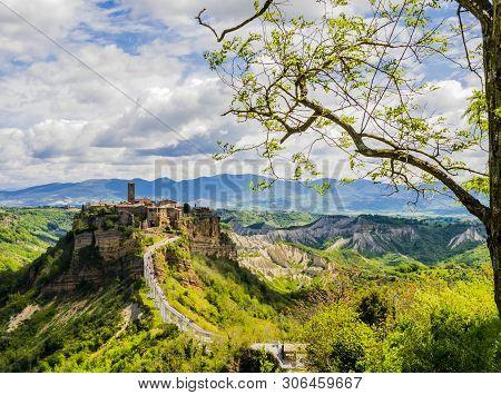 Panoramic View Of Picturesque Civita Di Bagnoregio, Ghost Mediaeval Town In Lazio, Central Italy