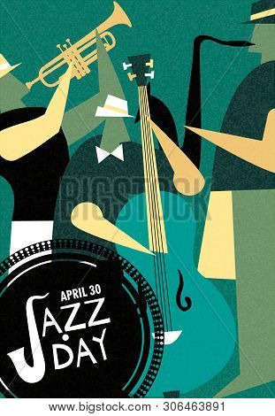 April 30 Jazz Day Retro Poster Illustration Of Live Music Band Playing Diverse Musical Instrument In