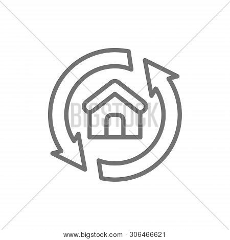 House Remodeling, Redevelopment, Repair Home Line Icon.
