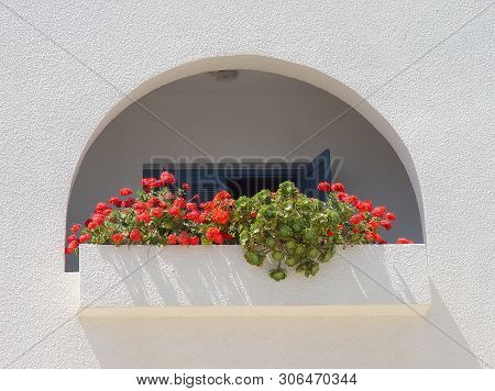 Beautiful Balcony With Geraniums And Succulents. Tunisia