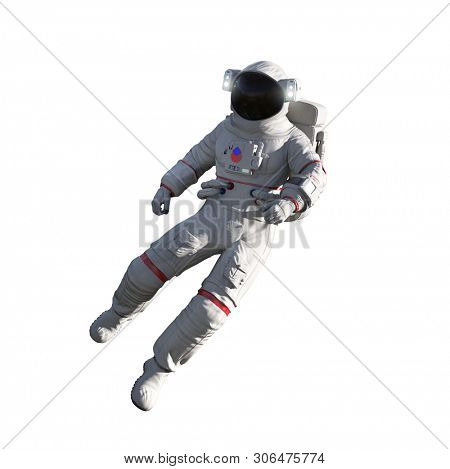 Astronaut isolated on white background. Floating, exploring, conducting spacewalk. 3D Illustration