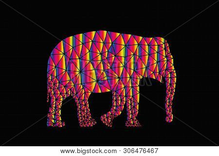 Vector Elefant Animal Polygonal Geometric On Black Background