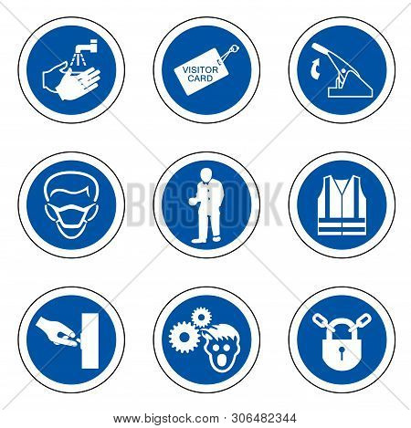 Required Personal Protective Equipment (ppe) Symbol,safety Icon,vector Illustration