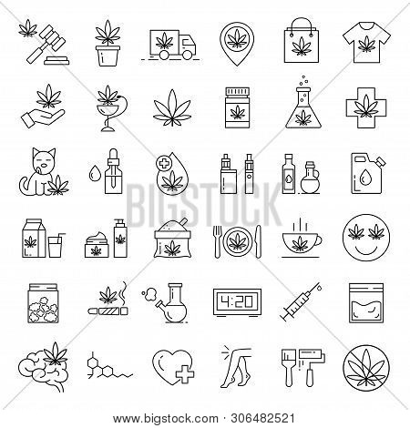 Marijuana Icons. Set Of Medical Cannabis Icons. Drug Consumption. Marijuana Legalization. Isolated V