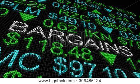 Bargains Great Deals Stock Picks Market Ticker 3d Illustration poster