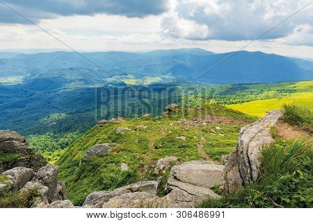 Gorgeous View From The Hill. Beautiful Summer Landscape In Mountains. Rocks On The Grassy Slopes. Cl