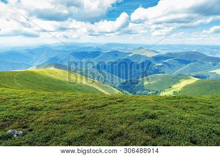 Grassy Hills And Slopes Of Carpathians.  Beautiful Summer Mountain Landscape On A Sunny Day With Clo