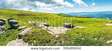 Panorama Of A Mountain Meadow With Rocks. Beautiful Sunny Day In Summer. Boulders Among The Tall Gra