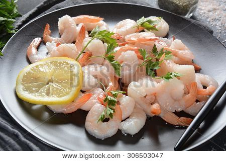 Fresh Prawns. Raw Shrimps, Prawns In A Plate On A Dark Background. Seafood. Fresh Prawns. Raw Shrimp